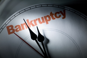 "Time ticking on a clock labeled ""Bankruptcy"""